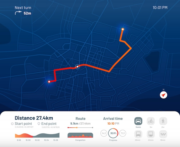 ルートダッシュボード。都市ストリートマップナビゲーション、町のランニングルート、gps追跡マップアプリフラットイラスト