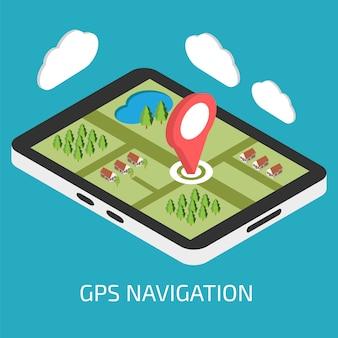 タブレットまたはスマートフォンを使用したgpsモバイルナビゲーション