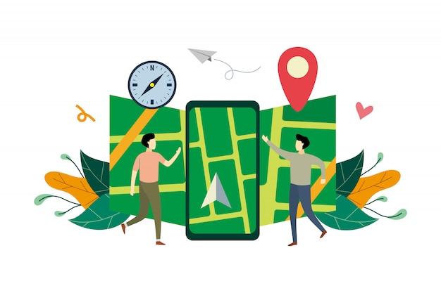 Система gps-навигации, расположение на карте города плоской иллюстрации с маленькими людьми