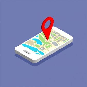 ディスプレイ上のマップナビゲーションと等尺性の電話。赤いピンポイントのgpsナビゲーター。ポイントマーカー付きの市内地図。分離された図