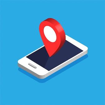 ディスプレイ上のマップナビゲーションと等尺性の電話。赤いピンポイントのgpsナビゲーター。ポイントマーカー付きの市内地図。青色の背景に分離されたイラスト。