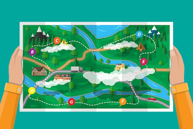 郊外の紙の自然の地図。 gpsとナビゲーション