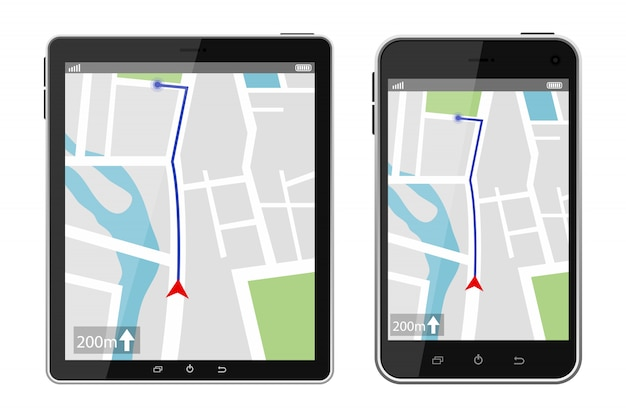 Иллюстрация системы навигации gps изолированная на белой предпосылке