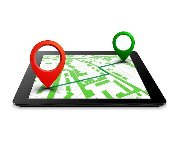 Gpsナビゲーション、シティマップルートナビゲーションタブレット、タブレットポイントマーカー、旅程目的地シティマップを備えた都市計画。ルートアイソメトリックチェックポイント