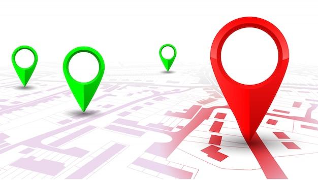 場所から場所への都市地図上の赤いgpsナビゲーターポインター