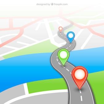 ピンを持つgpsの地図