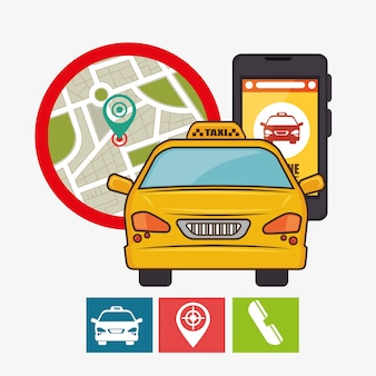 タクシーサービスの概念のgps携帯電話のアイコン
