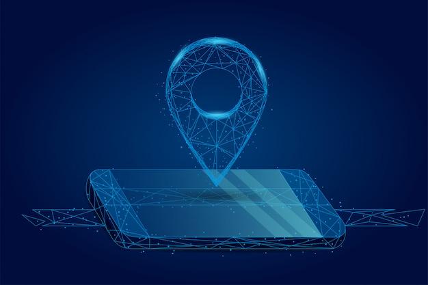 Абстрактная линия и точка gps-пюре на экране мобильного телефона