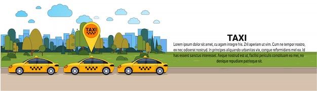 Gpsロケーションサイン付きのモダンなタクシー車オンラインタクシー注文サービスコンセプト水平方向のバナーのテンプレート