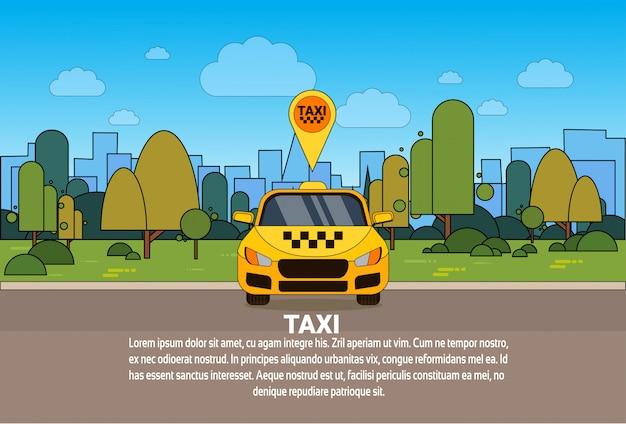 Gpsの場所のポインターのオンラインタクシーサービスの概念が付いている黄色いタクシー車