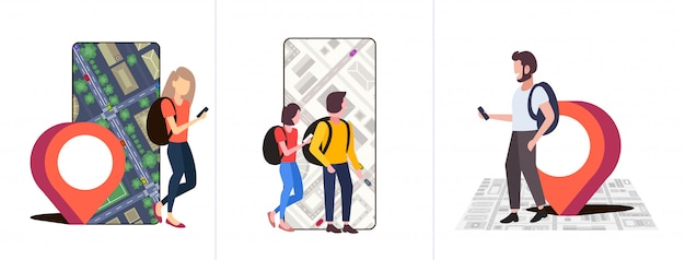 Набор людей с помощью приложения навигации с маркером местоположения положение gps на городской карте города со зданиями и улицами коллекция концепций путешествий городской пейзаж верхний угол зрения полная длина горизонтальный