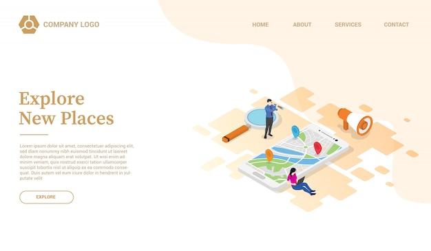 スマートフォンgpsウェブサイトテンプレートまたはアイソメ図スタイルのランディングホームページで新しい場所を発見または探索する