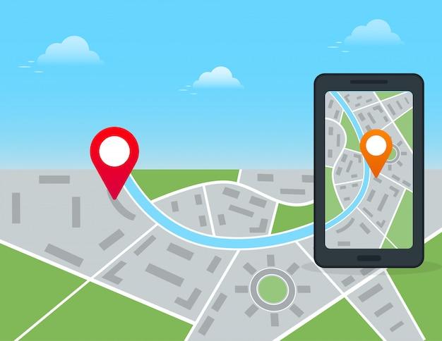 モバイルgpsナビゲーションと位置追跡アプリのコンセプト。市内地図とピンマーカーと黒のスマートフォン。