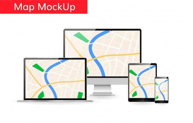 コンピューターのラップトップ上のgps市内地図