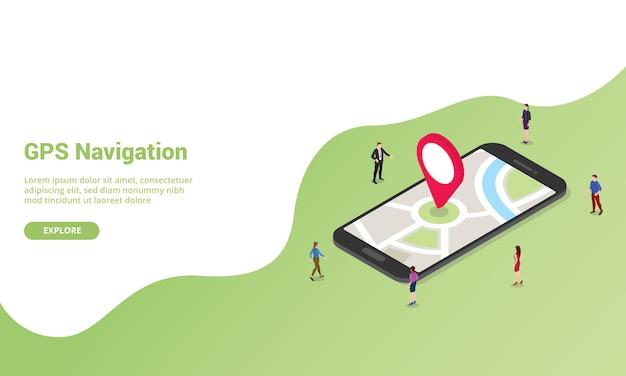 Gps навигационная технология изометрии для шаблона сайта или целевой страницы баннер
