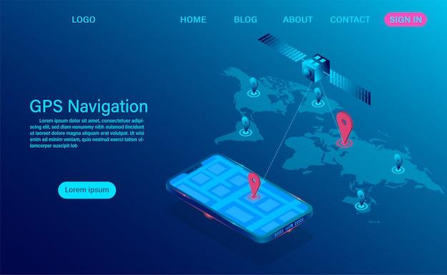 Gps навигация приложение на смартфон концепции. спутниковая радионавигация и система слежения на мобильном устройстве для глобальной системы позиционирования.