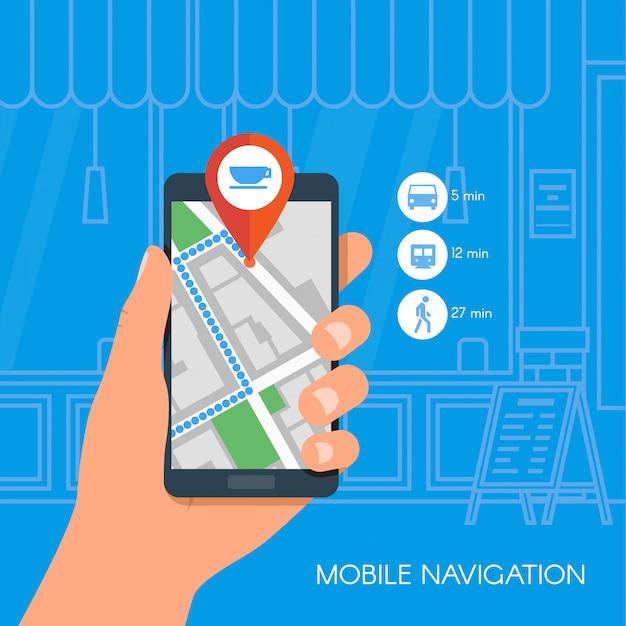 モバイルナビゲーションの概念図。 gps市内地図とスマートフォンを持っている手