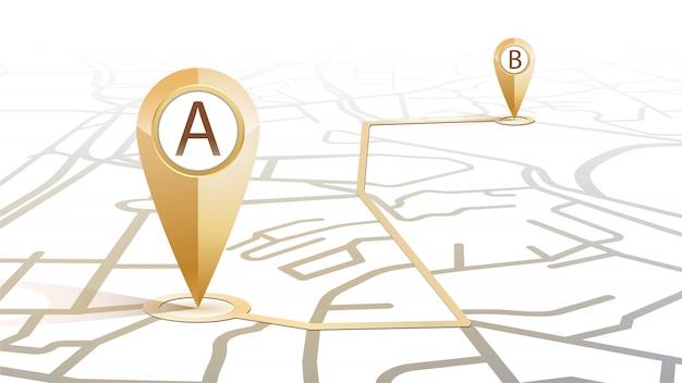 Значок булавки gps золотого цвета от точки а до точки б, показывающий форму карты улиц на белом фоне