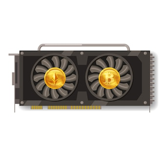 Gpu videocard for mining isolated icon. blockchain technology and digital money, bitcoin, ethereum, cryptocurrency