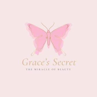 Grace's secret 나비 로고 템플릿, 살롱 비즈니스, 슬로건이 있는 창의적인 디자인 벡터