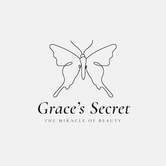 グレースの秘密の蝶のロゴのテンプレート、サロンビジネス、スローガンの創造的なデザインベクトル