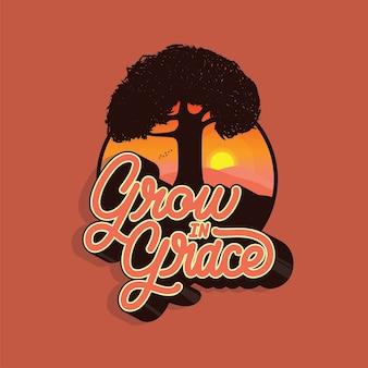 Grace handlettering typography illustration