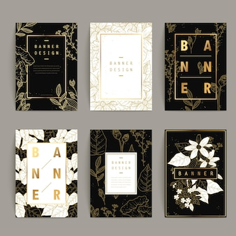 Graceful banner template design set with floral outlines