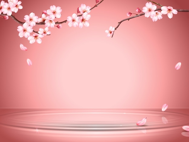 Graceful cherry blossom background, sakura branches and falling petals on the water surface in  illustration, romantic wallpaper for