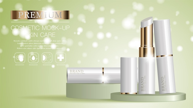 Graceful cosmetic ads lipstick for annual sale or festival sale on glitter particles background