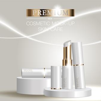 반짝이 입자 배경에서 연간 판매 또는 축제 판매를 위한 우아한 화장품 광고 립스틱