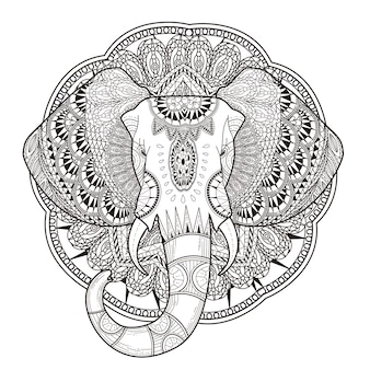絶妙なスタイルの優雅な象の着色ページ