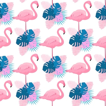 Graceful flamingos, monstera, fern and palm leaves. tropical summer seamless pattern.