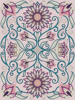 Изящный дизайн цветочной раскраски в изысканной линии