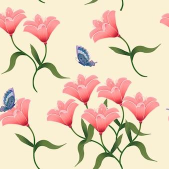 Graceful flower seamless pattern over beige background