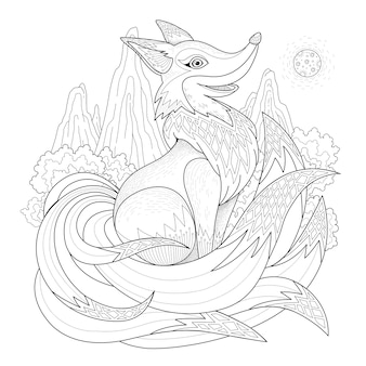 Graceful fox coloring page in exquisite style