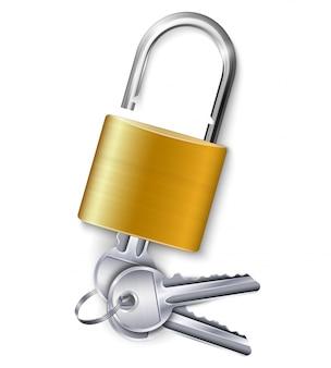 Lucchetto metallico oro grazioso con un kit di tre chiavi su bianco realistico