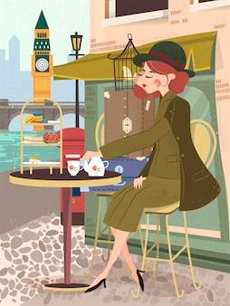 Изящная дама наслаждается послеобеденным чаем у кафе, плакат путешествия великобритании