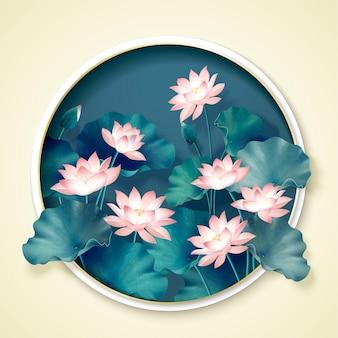 丸いフレームの優雅な蓮の池