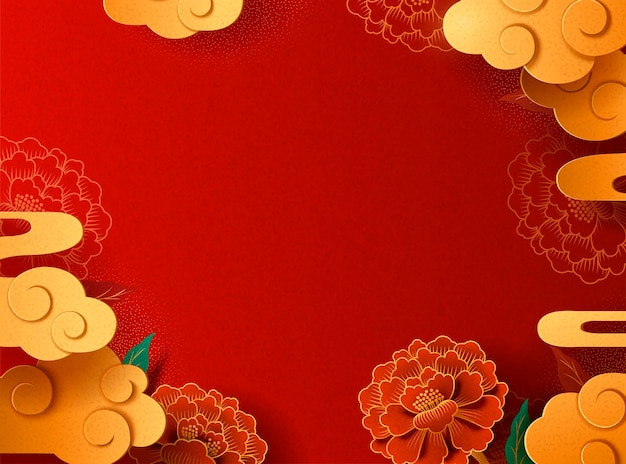 Graceful paper art peony and cloud background