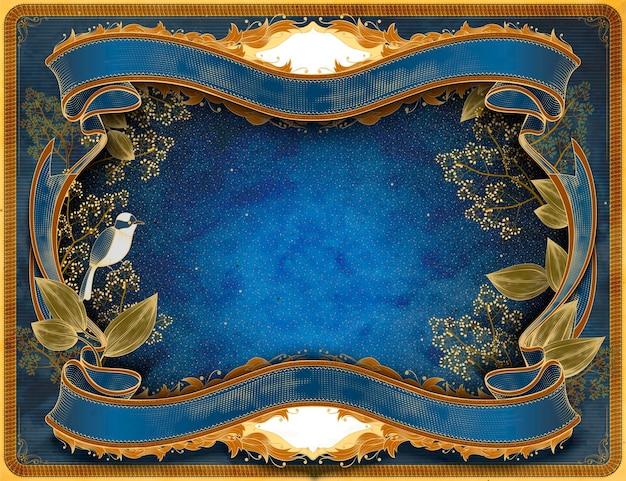 青いトーンの鳥や植物と優雅なレトロなウッドカットスタイルのフレームの背景