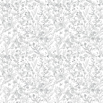 Graceful seamless floral pattern coloring page in exquisite style