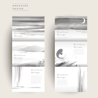 Graceful tri-fold brochure template design in ink and wash style