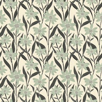 Graceful vintage seamless floral pattern over beige background