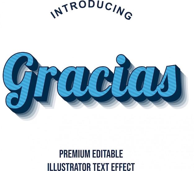 Gracias - текстовый эффект 3d сильного синего иллюстратора