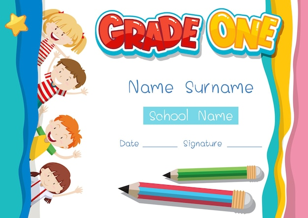 Grade one diploma or certificate template