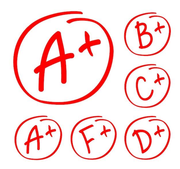 成績結果セット。赤い円で手描きのベクトルグレード。テスト試験マークレポート。