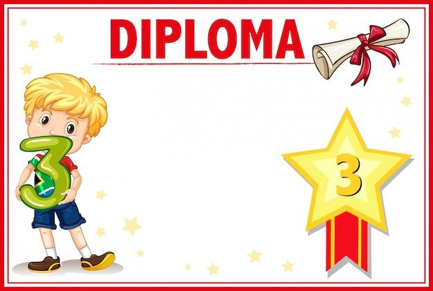 Grade three diploma certificate copyspace