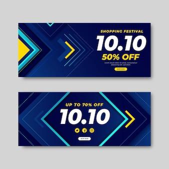 Gradient 10.10 horizontal banners set