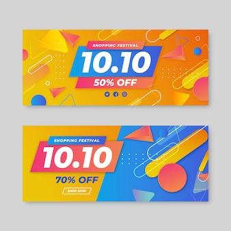 Set di banner orizzontali gradiente 10.10
