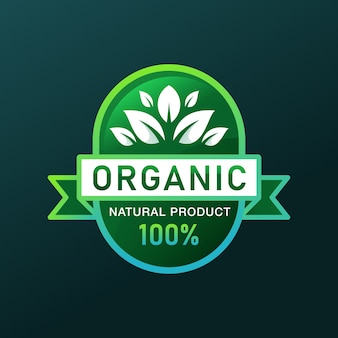 Gradient 100% organic natural product emblem or badge logo design